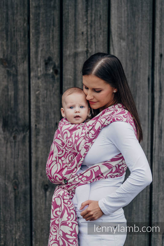 Baby Wrap, Jacquard Weave (100% cotton) - TWISTED LEAVES CREAM & PURPLE - size S #babywearing