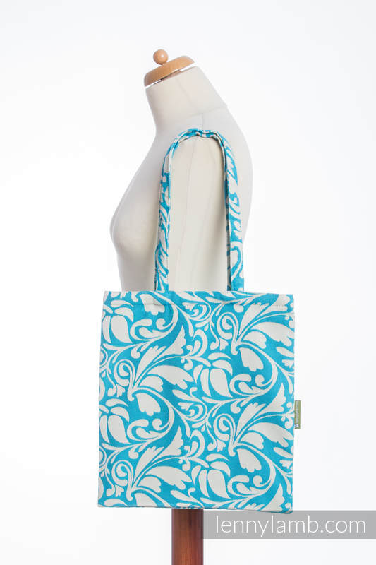 Shopping bag made of wrap fabric (100% cotton) - TWISTED LEAVES CREAM & TURQUOISE  #babywearing