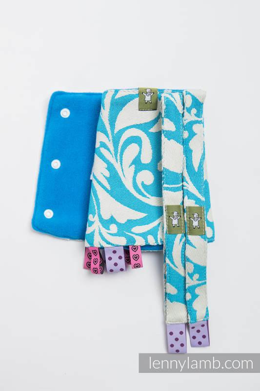 Set de protege tirantes y tiras de alcance (60% algodón, 40% Poliéster) - TWISTED LEAVES CREAM & TURQUESA  #babywearing