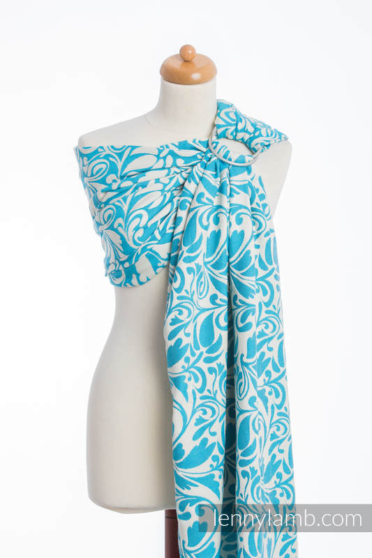 Ringsling, Jacquard Weave (100% cotton) - with gathered shoulder - TWISTED LEAVES CREAM & TURQUOISE  #babywearing