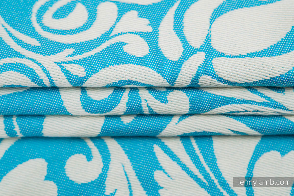 Baby Wrap, Jacquard Weave (100% cotton) - TWISTED LEAVES CREAM & TURQUOISE - size XL #babywearing