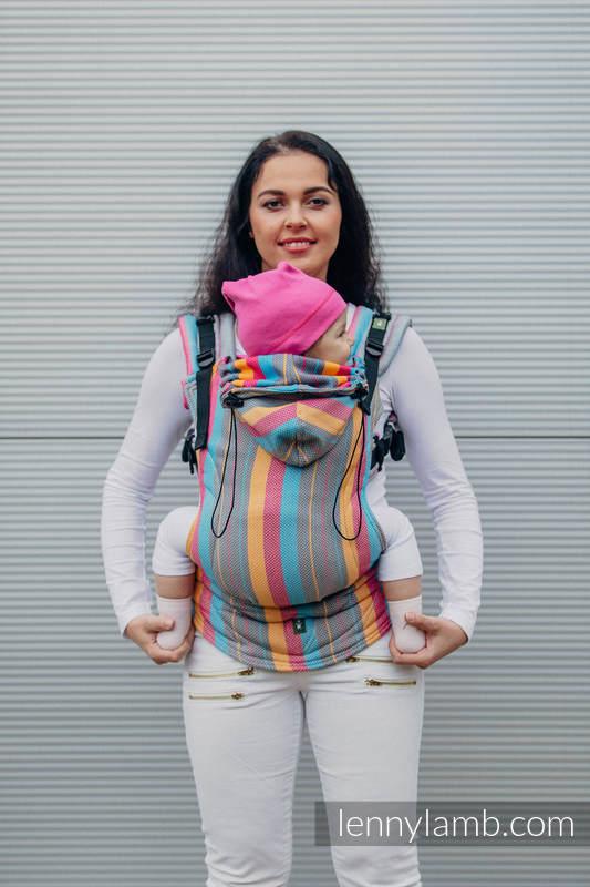 Ergonomic Carrier, Baby Size, herringbone weave 100% cotton - LITTLE HERRINGBONE DAYLIGHTS - Second Generation (grade B) #babywearing