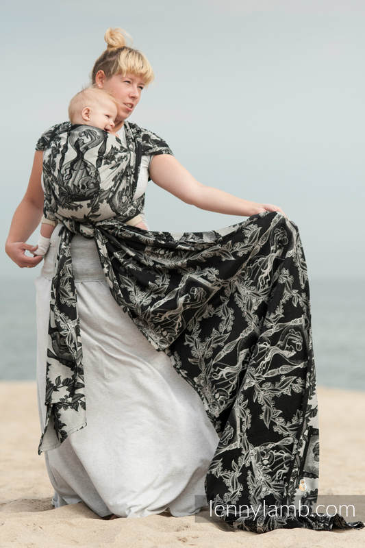 Baby Wrap, Jacquard Weave (100% cotton) - Time (without skull) - size XL #babywearing