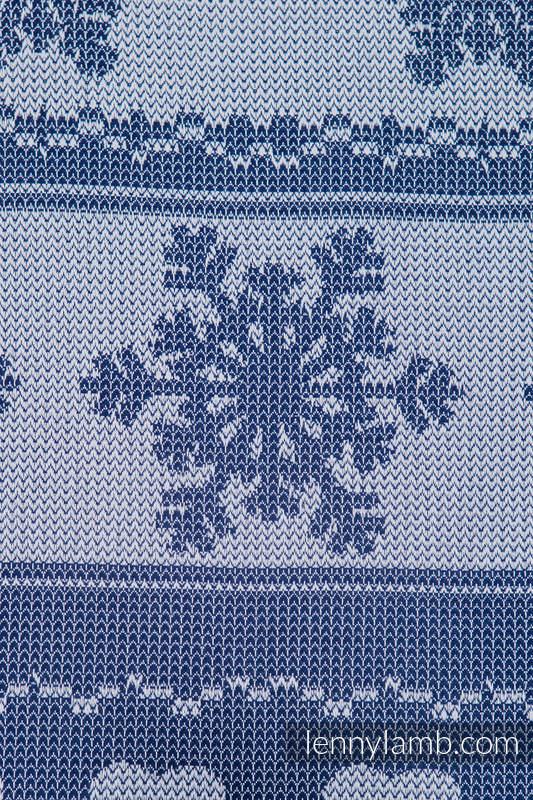 Baby Wrap, Jacquard Weave (80% cotton, 20% merino wool) - WARM HEARTS NAVY BLUE & WHITE - size S #babywearing