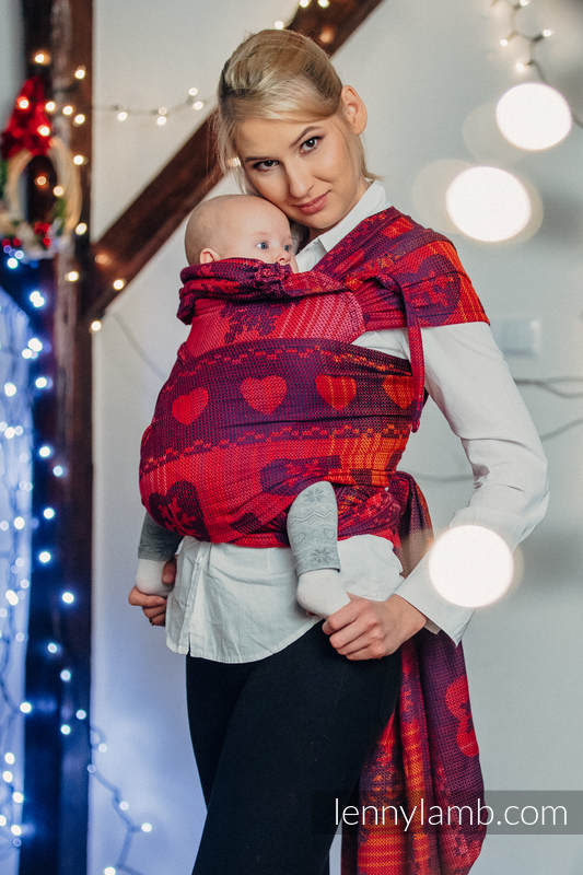 WRAP-TAI carrier Mini with hood/ jacquard twill / 100% cotton / WARM HEARTS WITH CINNAMON  #babywearing