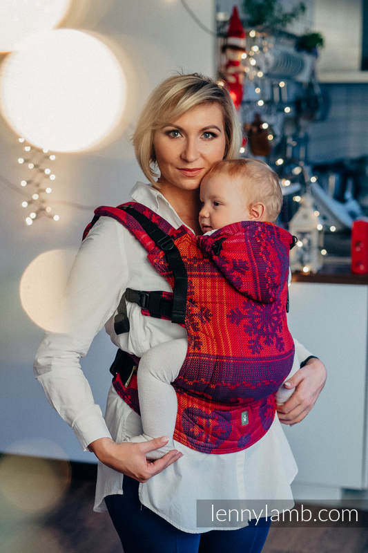 Ergonomic Carrier, Toddler Size, jacquard weave 100% cotton - WARM HEARTS WITH CINNAMON  - Second Generation #babywearing