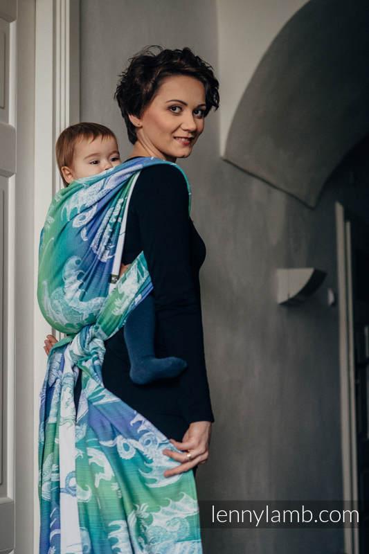 Baby Wrap, Jacquard Weave (100% cotton) - DRAGON GREEN & BLUE - size XS #babywearing