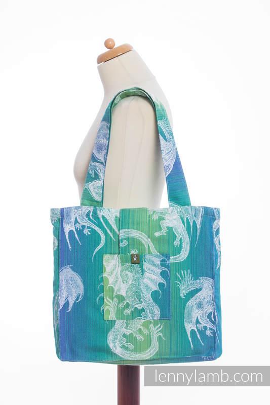 Bolso hecho de tejido de fular (100% algodón) - DRAGON VERDE & AZUL - talla estándar 37 cm x 37 cm #babywearing