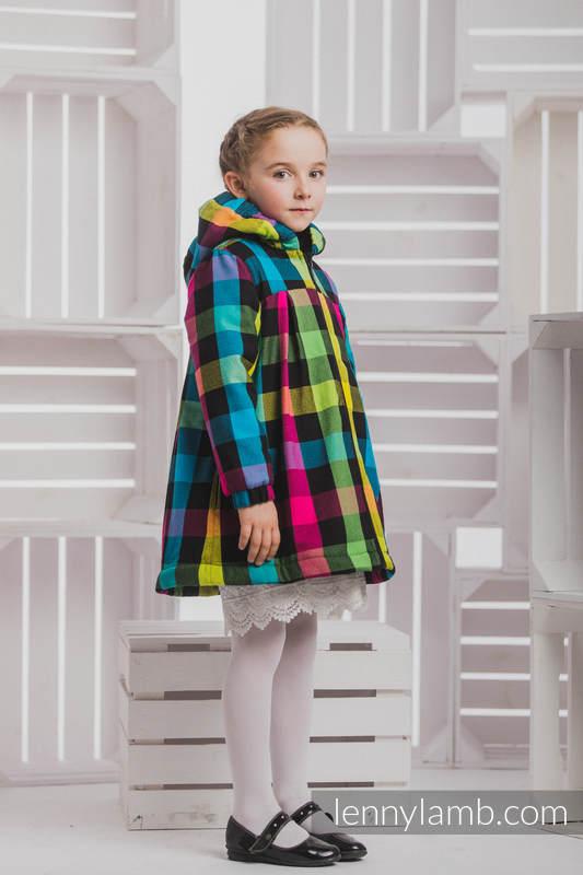 Girls Coat - size 104 - DIAMOND PLAID with Black #babywearing