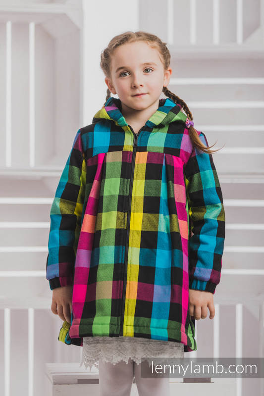 Girls Coat - size 134 - DIAMOND PLAID with Black #babywearing