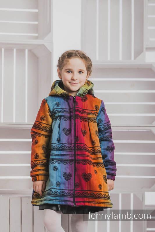 Abrigo para niñas - talla 110 - Rainbow Lace Dark con Negro #babywearing