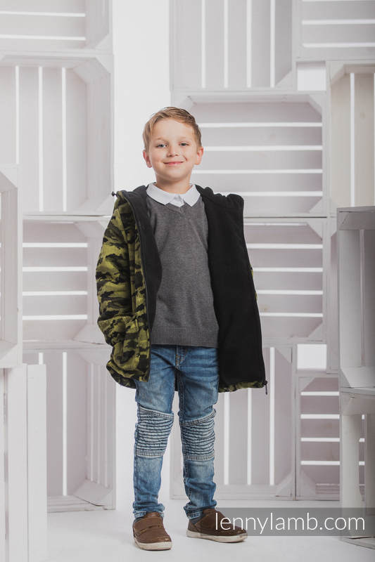 Boys Coat - size 116 - GREEN CAMO with Black #babywearing