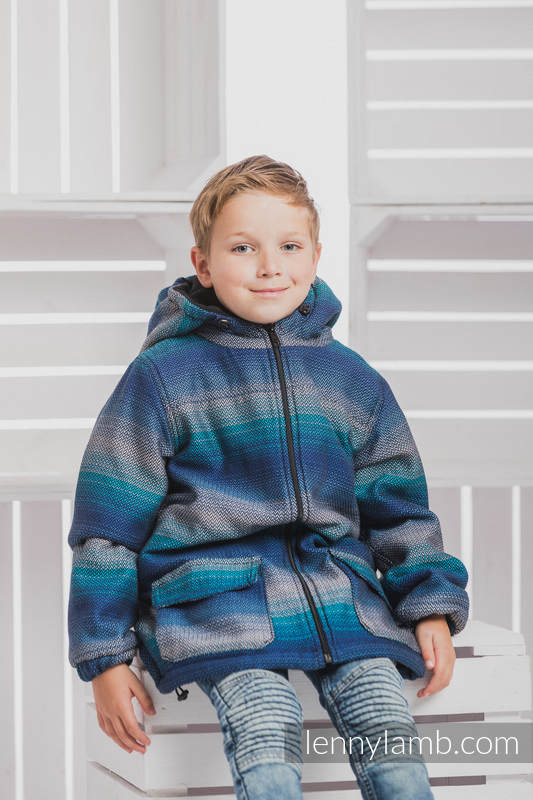 Boys Coat - size 116 - LITTLE HERRINGBONE ILLUSION with Black #babywearing