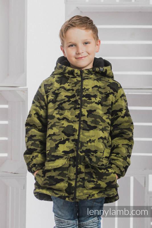 Boys Coat - size 134 - GREEN CAMO with Black #babywearing