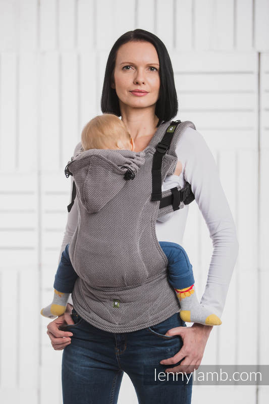 Ergonomic Carrier, Baby Size, herringbone weave 100% cotton - LITTLE HERRINGBONE BLACK - Second Generation (grade B) #babywearing