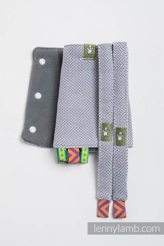 Drool Pads & Reach Straps Set, (60% cotton, 40% polyester) - LITTLE HERRINGBONE GREY  #babywearing