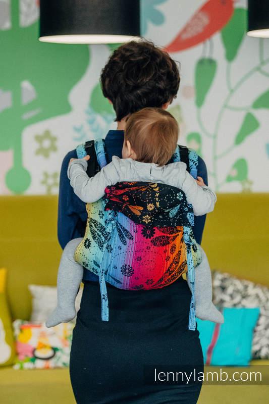 Onbuhimo SAD LennyLamb, talla estándar, jacquard (100% algodón) - DRAGONFLY RAINBOW DARK #babywearing