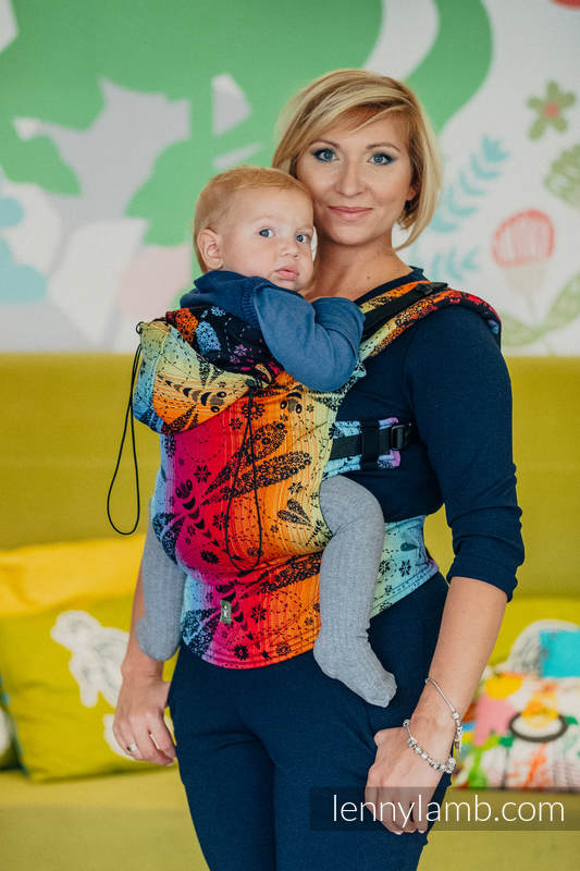 Ergonomic Carrier, Baby Size, jacquard weave 100% cotton - DRAGONFLY RAINBOW DARK - Second Generation (grade B) #babywearing