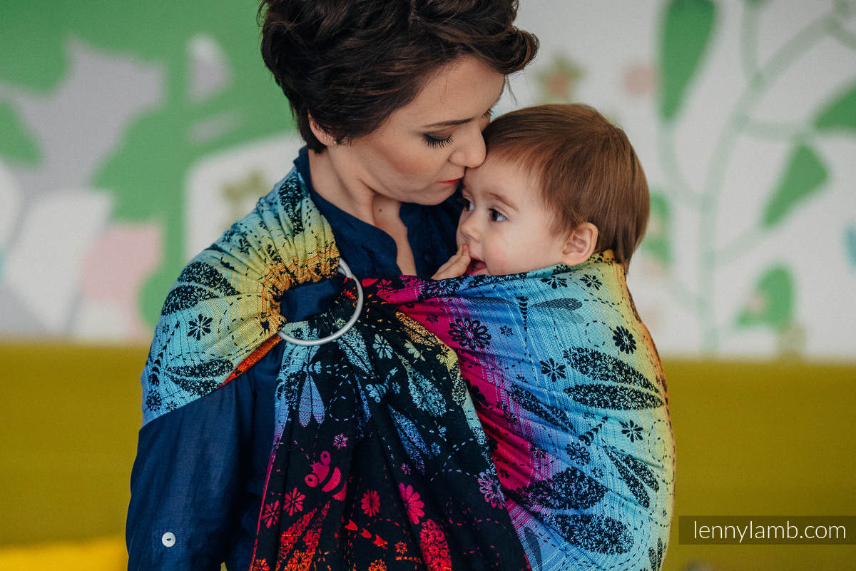 Ringsling, Jacquard Weave (100% cotton) - DRAGONFLY RAINBOW DARK  - long 2.1m #babywearing