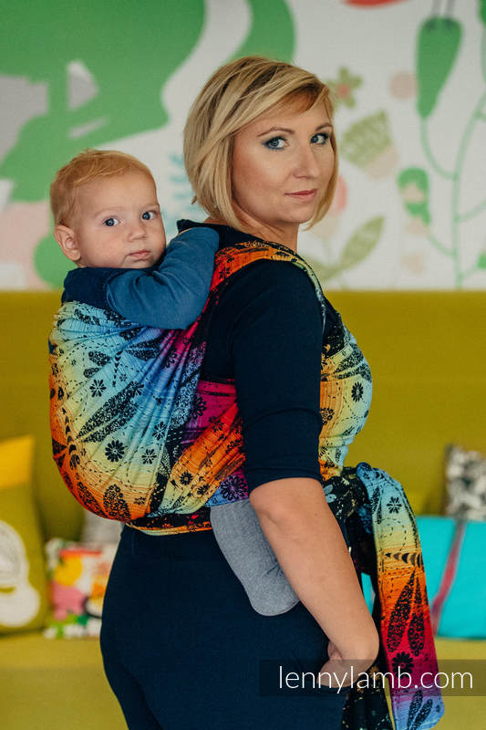Baby Wrap, Jacquard Weave (100% cotton) - DRAGONFLY RAINBOW DARK - size M #babywearing