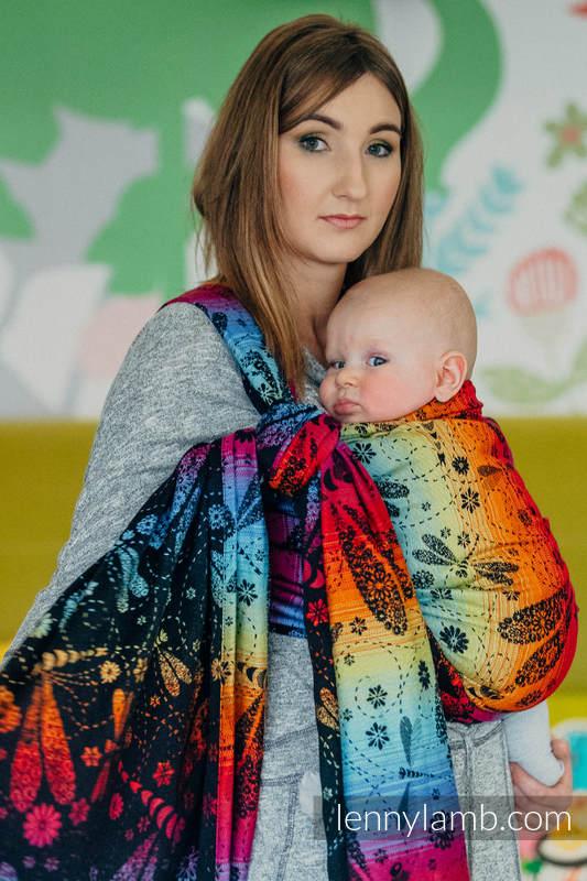 Żakardowa chusta do noszenia dzieci, bawełna - WAŻKI TĘCZOWE DARK - rozmiar S #babywearing