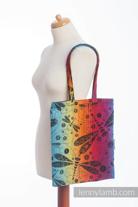 Shopping bag made of wrap fabric (100% cotton) - DRAGONFLY RAINBOW DARK #babywearing