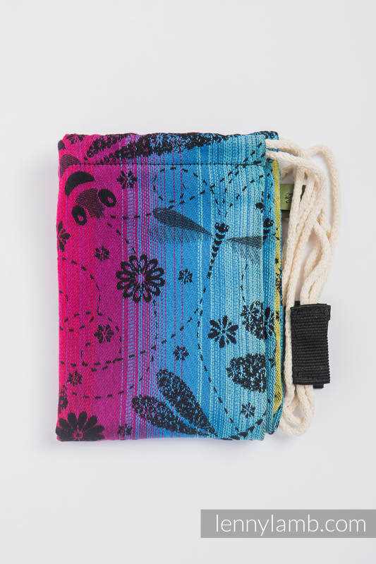 Sac à cordons en retailles d'écharpes (100 % coton) - DRAGONFLY RAINBOW DARK - taille standard 32 cm x 43 cm #babywearing