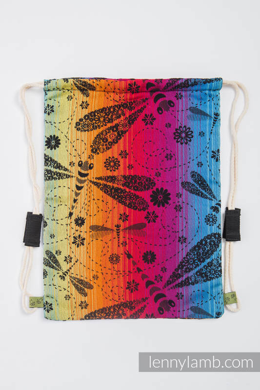 Sackpack made of wrap fabric (100% cotton) - DRAGONFLY RAINBOW DARK - standard size 32cmx43cm #babywearing
