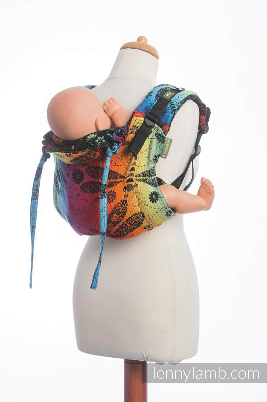 Lenny Buckle Onbuhimo baby carrier, standard size, jacquard weave (100% cotton) - DRAGONFLY RAINBOW DARK  #babywearing