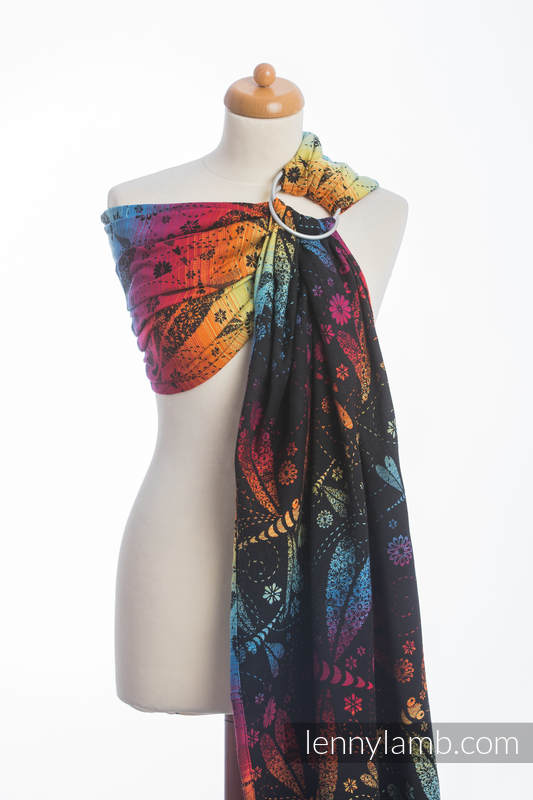 Ringsling, Jacquard Weave (100% cotton) with gathered shoulder - DRAGONFLY RAINBOW DARK  - long 2.1m #babywearing