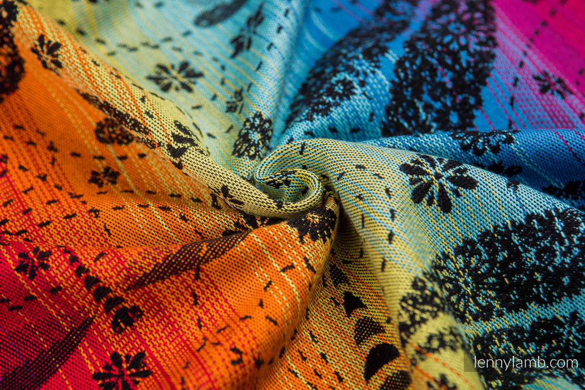 Baby Wrap, Jacquard Weave (100% cotton) - DRAGONFLY RAINBOW DARK - size XL #babywearing