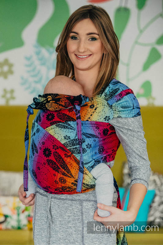WRAP-TAI carrier Mini with hood/ jacquard twill / 100% cotton / DRAGONFLY RAINBOW DARK  #babywearing