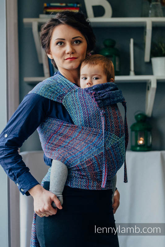 Wrap Tai Carrier Toddler With Hood Jacquard Twill 100 Cotton Big Love Sapphire