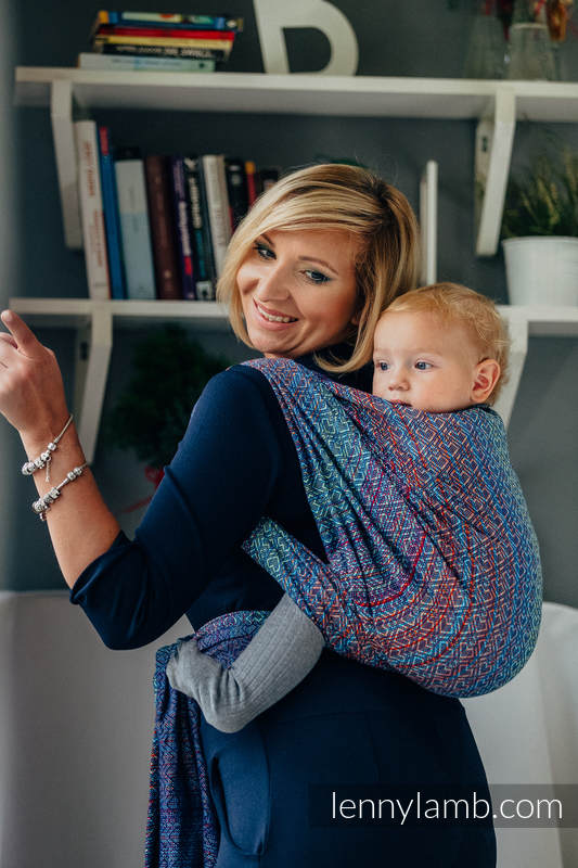 Fular, tejido jacquard (100% algodón) - BIG LOVE SAPPHIRE - talla L #babywearing
