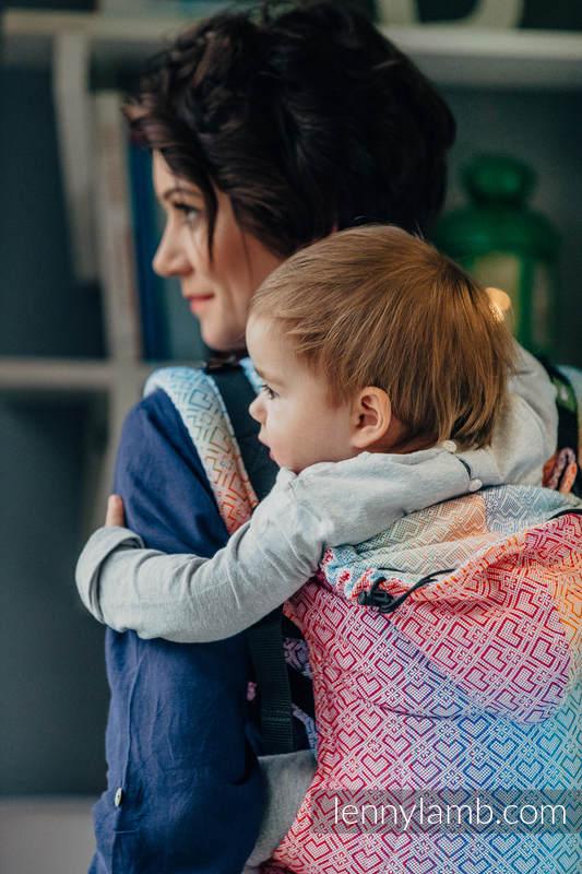 Nosidełko Ergonomiczne z tkaniny żakardowej 100% bawełna , Baby Size, BIG LOVE - TĘCZA - Druga Generacja #babywearing