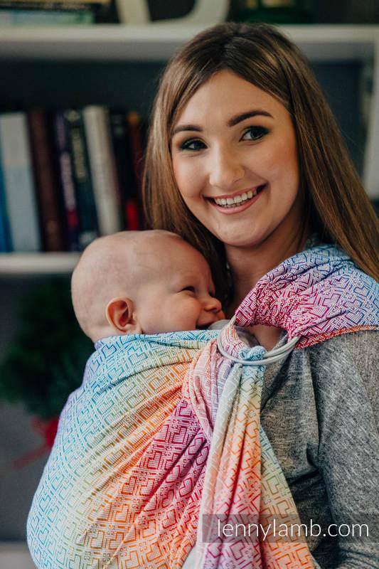 Bandolera de anillas, tejido Jacquard (100% algodón) - con plegado simple - BIG LOVE RAINBOW  - standard 1.8m #babywearing