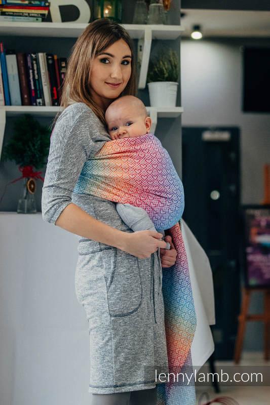 Chusta kółkowa, splot żakardowy, (100% bawełna) - BIG LOVE TĘCZA  - standard 1.8m #babywearing