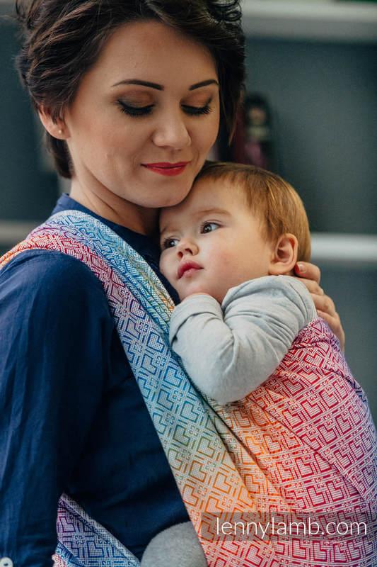 Fular, tejido jacquard (100% algodón) - BIG LOVE RAINBOW - talla M #babywearing