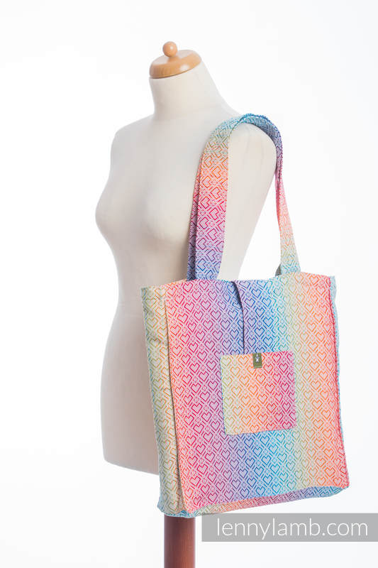 Shoulder bag made of wrap fabric (100% cotton) - BIG LOVE - RAINBOW - standard size 37cmx37cm #babywearing