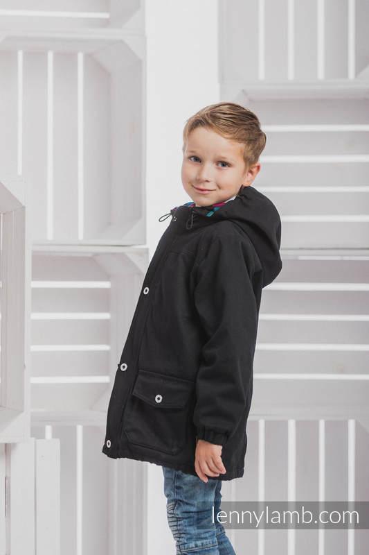 Parka Jacke für Kinder - Größe 116 - Schwarz und Diamond Plaid #babywearing