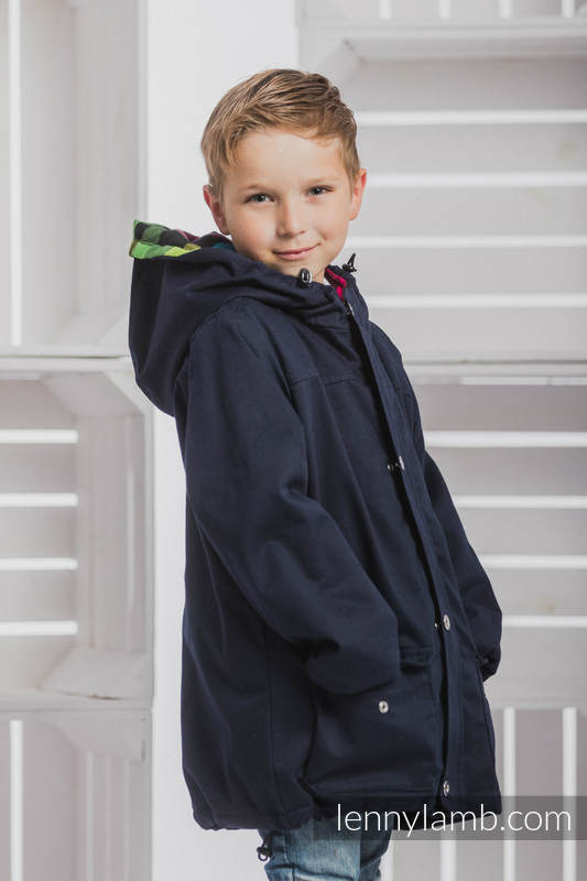 f7040b8d4 Parka Coat for Kids - size 122 - Navy Blue   Diamond Plaid