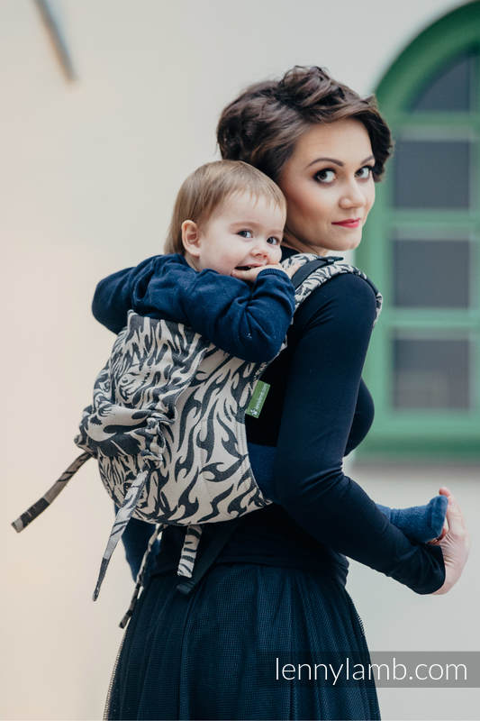 Lenny Buckle Onbuhimo baby carrier, standard size, jacquard weave (100% cotton) - TIGER BLACK & BEIGE 2.0 #babywearing
