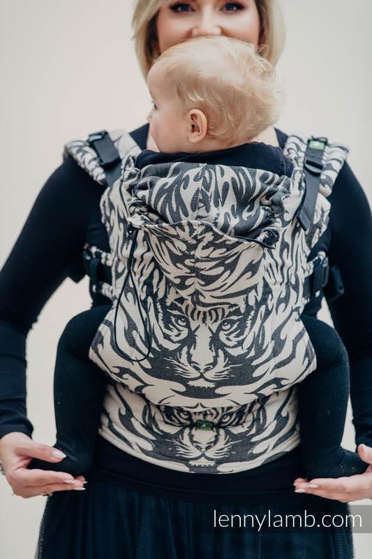 Nosidełko Ergonomiczne z tkaniny żakardowej 100% bawełna , Baby Size, TYGRYS CZARNY Z BEŻEM 2.0 - Druga Generacja #babywearing