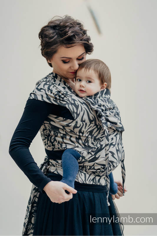 WRAP-TAI carrier Mini with hood/ jacquard twill / 100% cotton / TIGER BLACK & BEIGE 2.0 #babywearing