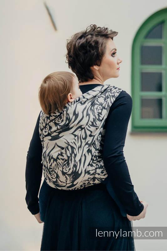 Baby Wrap, Jacquard Weave (100% cotton) - TIGER BLACK & BEIGE 2.0 - size S #babywearing