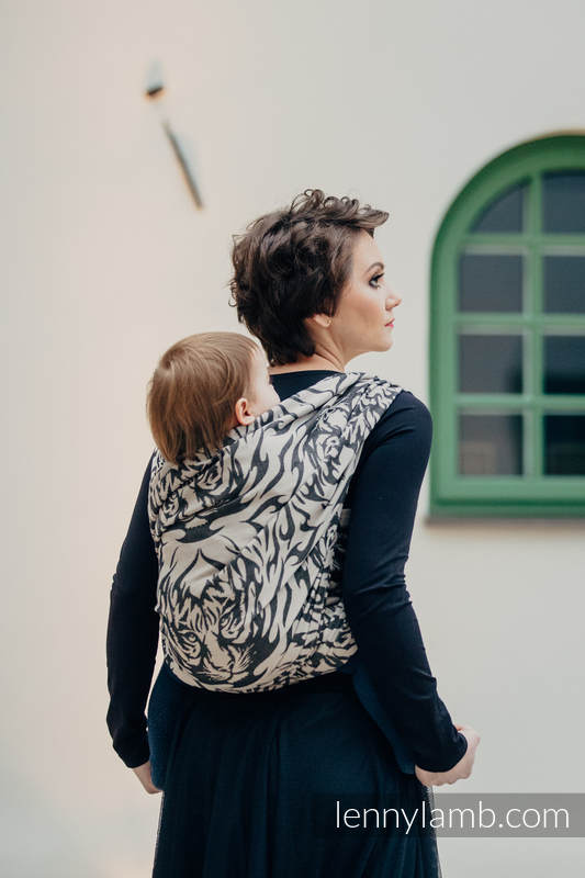 Baby Wrap, Jacquard Weave (100% cotton) - TIGER BLACK & BEIGE 2.0 - size M #babywearing