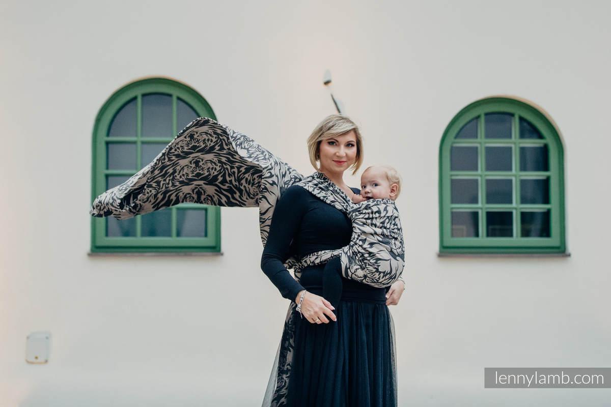 Żakardowa chusta do noszenia dzieci, bawełna - TYGRYS CZARNY Z BEŻEM 2.0 - rozmiar L #babywearing