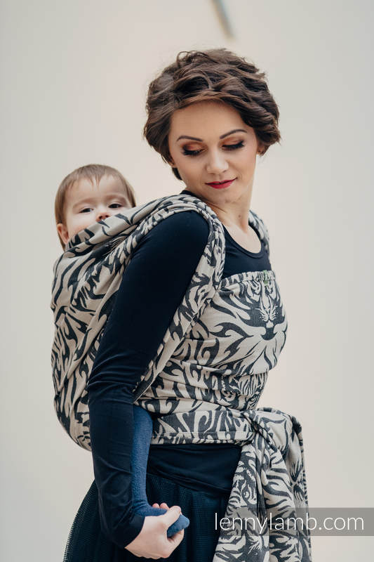 Baby Wrap, Jacquard Weave (100% cotton) - TIGER BLACK & BEIGE 2.0 - size L #babywearing