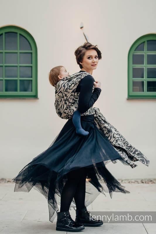 Baby Wrap, Jacquard Weave (100% cotton) - TIGER BLACK & BEIGE 2.0 - size XL #babywearing