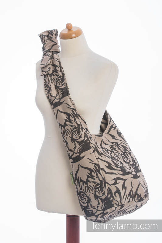Hobo Bag made of woven fabric, 100% cotton - TIGER BLACK & BEIGE 2.0 #babywearing